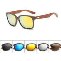 achat en gros de cadres élégants-Lunettes de soleil en bois de mode 2017 unisexe de nouveaux lunettes de soleil des hommes des femmes en bois + cadre en plastique rétro vintage styliste lunettes de style 6 couleurs
