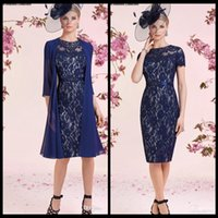 Wholesale Cheap Lady T Shirts - Cheap Lace Royal Blue Womens' Formal Dress With Chiffon Jacket Custom Made Column Mother's Dresses Of The Bride Ladies Party Gown With Sash