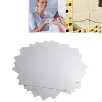 PET bathroom mosaic tile designs - 16Pcs Waterproof DIY Square Mirror Tile Wall Stickers D Decal Mosaic Home Room Bathroom Decor HDE_01U