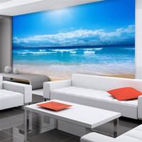 Wholesale Customize d photo wallpaper d European non woven wall paper bedroom ocean sky ocean beach wall mural wallpaper for walls