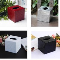 Wholesale Square black red silver white PU Leather Tissue Box Cover Napkin Box Paper Holder Home Decor Xmas Gift
