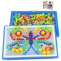 Wholesale Children Puzzle Mushrooms Nails Inserted Toys Mushrooms Nails Jigsaw Puzzle Toy Gifts D Kids Mosaic Mushroom Game IQ Toys