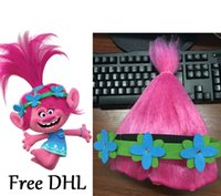 Wholesale Trolls Poppy Wig for Kids with Flowers Headband Cosplay Wigs for Children