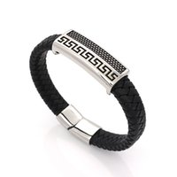Wholesale Genuine Leather Man Wrap Bracelets Vintage Full Steel The Great Wall Accessories Cool Men Jewelry