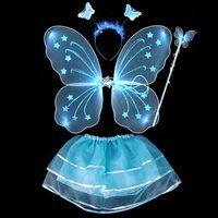 Wholesale 4Pcs Fairy Princess Butterfly Party Costume Wings Wand Headband Tutu Skirt