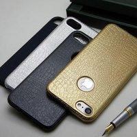 al por mayor serpiente de cuero del iphone-Caja de cuero del patrón de la serpiente para el iPhone 7 más el material suave TPU del color de la capa del metal de la pulgada libera el envío