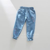 Wholesale Foreign trade children s clothing spring new color love embroidery elastic waist girls cotton legs jeans