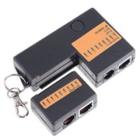 Wholesale 2015 New Mini RJ45 RJ11 Cat5 Cat6 Network LAN Cable Tester with Keychain LEDs Ethernet Cord Tracker Detector ship free