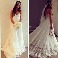 Wholesale Vintage Boho Wedding Dresses Robe De Mariage Vestidos De Novia Sexy Bridal Gown Beach Wedding Dress with lace
