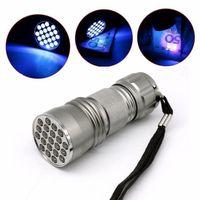 Wholesale 21 LED UV Ultra Violet Flashlight Torch Light Lamp Mini UV Flash Light for Blacklight Invisible Mini Aluminum Purple nm