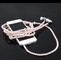al por mayor bling tapones para los oídos-Auriculares del collar de la perla del diamante de Bling de la manera auricular del En-oído del enchufe de 3.5mm con el Mic Hola-Fi atado con alambre auricular estéreo para el teléfono elegante