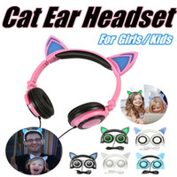 apple computer flash - Foldable Flashing Glowing Cat Ear Headphones Headband Earphones mm Music Gaming Headset With LED light For Iphone Computer Cell Phone MP3