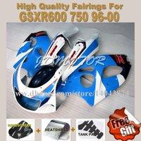 Precio de Suzuki gsxr750 fairing-Carenados Bluewhite + 3 piezas para SUZUKI GSXR600 GSXR750 1996 1997 1998 1999 2000 GSXR600 750 96-00 # R7496