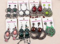 Dangle & Chandelier many color mix style Discount colored Exaggerated Long Section Jewelry Earrings Diamond and Gemstone Eardrops Cheap Mix Wholesale Earrings Free Shipping