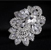 Broche grande broche de plata brillante corsage cristal Rhinestone hebilla flor pernos Swarovski boda mejor joyería broche broches Vintage Bouquet
