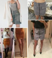 Wholesale Autumn lace up suede leather women skirt s Vintage pocket preppy short skirt Winter high waist casual skirts