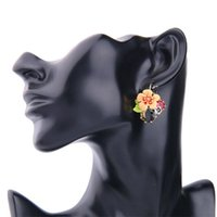 Wholesale The new Fashion accessories Colorful Unique design exaggerations Drop glaze flowers Lovely earrings Ladies earrings