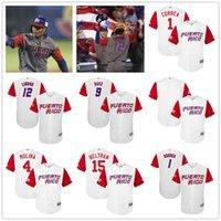 Wholesale Custom Puerto Rico World Baseball Jersey GREY White Carlos Beltran Carlos Correa Francisco Lindor Yadier Molina Javier Baez