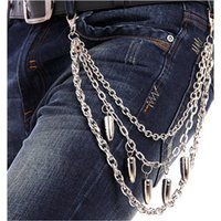 Wholesale Hip hop waist chain metal fashion new bullet waist chain women and men street rock chain