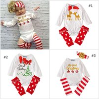 Wholesale New Born Baby Christmas Tree Romper Toddler Girls Long Sleeves Deer Romper Infant Dot Stockings Set Headbands