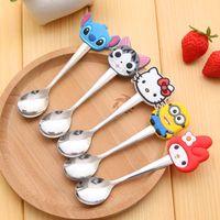 bear cutlery - Kawaii Bear Spoon Cutlery Cartoon Silicone Minions Hello Kitty Kids Stainless Steel Tableware Coffee Spoon Kitchen Accessories