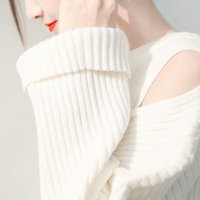 Wholesale The new autumn winter students pure color loosely contracted hollow out the dew shoulder long sleeve head female sweaters