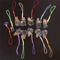 Wholesale Mini Glass Bottles Pendants with Chain Small Wishing Bottles Glass Vial Arts Jars For Key Bracelets Gift Bottles Mixed Shapes