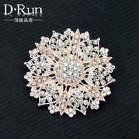 Wholesale Rose Gold Large Size Rhinestone Crystal Wedding Bouquet Brooches For bride Rhinestone pins
