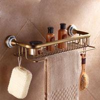 bamboo shower shelf - And Retail Wall Mounted Rectangle Bathroom Cosmetic Rack Shower Shampoo Shower Gel Shelf Antique Brass