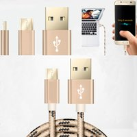 Micro USB thc phone - Micro USB Cable Nylon Grid Braided Fast Charge Data Cable Mobile Phone USB Charger Cable For Samsung s6 S7 edge THC HUAWEI LG