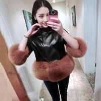 Wholesale New Ladies PU Leather Short Coat Jacket Slim Imitation Fur Coat