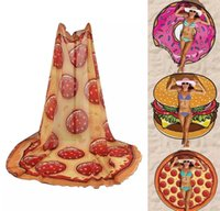 Wholesale Beach Towel Pizza Hamburger Printed cm Large Towels Bohemia Style Chiffon Circle Toalla Hawaiian Round Scarf Wrap Shawl
