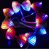 Wholesale Fedex DHL Free Colors LED Bow Tie Sequins Bowknot Flashing Tie Light up Toys Party Decoration Supplies For Kids Adult Z606 B