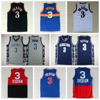 Wholesale 2016 Georgetown Hoyas Allen Iverson College Jersey New Rev Material Allen Iverson Shirts Throwback Uniforms Red Gray Blue White Black