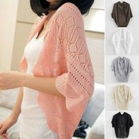 Wholesale Ladies Crochet Knit Shawl Batwing sleeve Hollow Out Shrug Cardigan Top Sweater