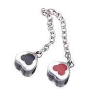 Wholesale Cute Mickey Design European Crystal Safety Chain Beads For Pandora Charms Bracelets Bangles Fashion Clip Locks Bijoux Berloque