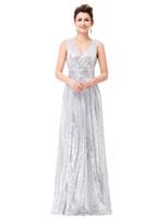 al por mayor vestidos largos formales de plata de oro-2017Luxury Oro Plata Long Sequin Vestido de noche Rosa Doble V Neck baratos vestidos de noche sin mangas Prom Party vestidos formales