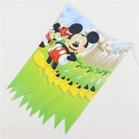 Wholesale Happy Birthday Paper Flags Decoration Pennats Kids Favors Baby Shower Party Banners Mickey Mouse Supplies set