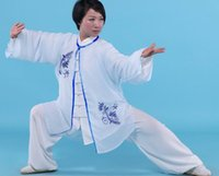 Wholesale Tai Chi clothing spring and autumn chiffon embroidery cloak tai chi practice costumes show martial arts clothing