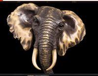 antique elephant figurines - Brass Crafted Human Vintage Modern Sculpture Elephant Figurine Bronze feng shui Statue sculptures Elephant Bust Head elefante bronze escultu