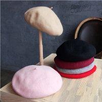 Vente en gros-100% laine femmes artiste Bérets Boina Cap AutumnWinter Vintage feutre doux Beanie Hat Mode classique Beret Femmes Stewardess Chapeaux