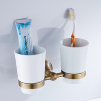 antique toothbrush holder - Top quality luxury European style Antique copper toothbrush tumbler cup holder with cups wall mounted bath product
