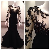 Wholesale 2017 New Real Samples Sexy Long Sleeves Vestidos Formales See Through Lace Mermaid Appliques Black Sexy Long Evening Dresses