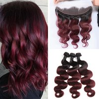 Wholesale Dark Roots Burgundy Ombre Brazilian Hair Bundles With Frontal Two Tone B J Body Wave Virgin Human Hair Weaves With Lace Frontal Closure