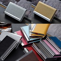 Wholesale Stainless Steel PU Leather Men s Credit Card Holder Women Metal Bank Name Business Card Case Card Box