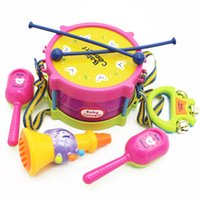 Wholesale MICHLEY set Simulation Tambourine for Kids Pretend Play Plastics Drums PercussionToys Gifts ABS Material T0083 linggu