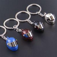 Zinc Alloy auto man cars - Creative motorcycle helmet key racing helmet metal key chain auto helmet hang small gifts