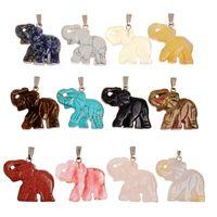 bead figurines - Opal Opalite Tiger eye Elephant Natural Stone Carved MM Figurine Chakra Bead Pendant Healing Crystal Reiki Feng Shui Bring Good Luck