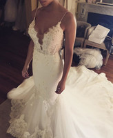 Wholesale 2017 Sexy Vintage Spaghetti Straps Mermaid Wedding Dresses Lace Appliques Tulle Sleeveless Sweep Train Garden Wedding Bridal Gowns Custom