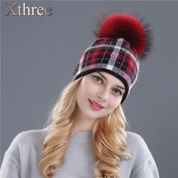 Wholesale Xthree women winter real mink knitted hat pom poms wool rabbit fur hat for women girls beanies Skullies hat